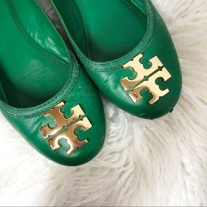 Tory Burch Reva Leather Green Ballet Flats